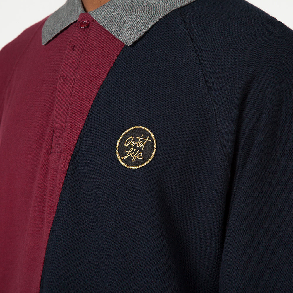 QUIET LIFE EIGHTMAN RUGBY POLO RED / NAVY