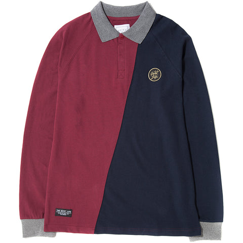 style code 17FWD11115REDNVY. QUIET LIFE EIGHTMAN RUGBY POLO RED / NAVY