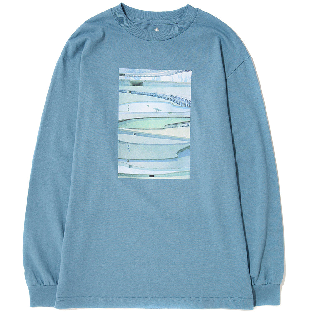 style code 17FWD11200SBLU. QUIET LIFE POOLS BY NATHANIEL JONES LONG SLEEVE T-SHIRT / SLATE BLUE