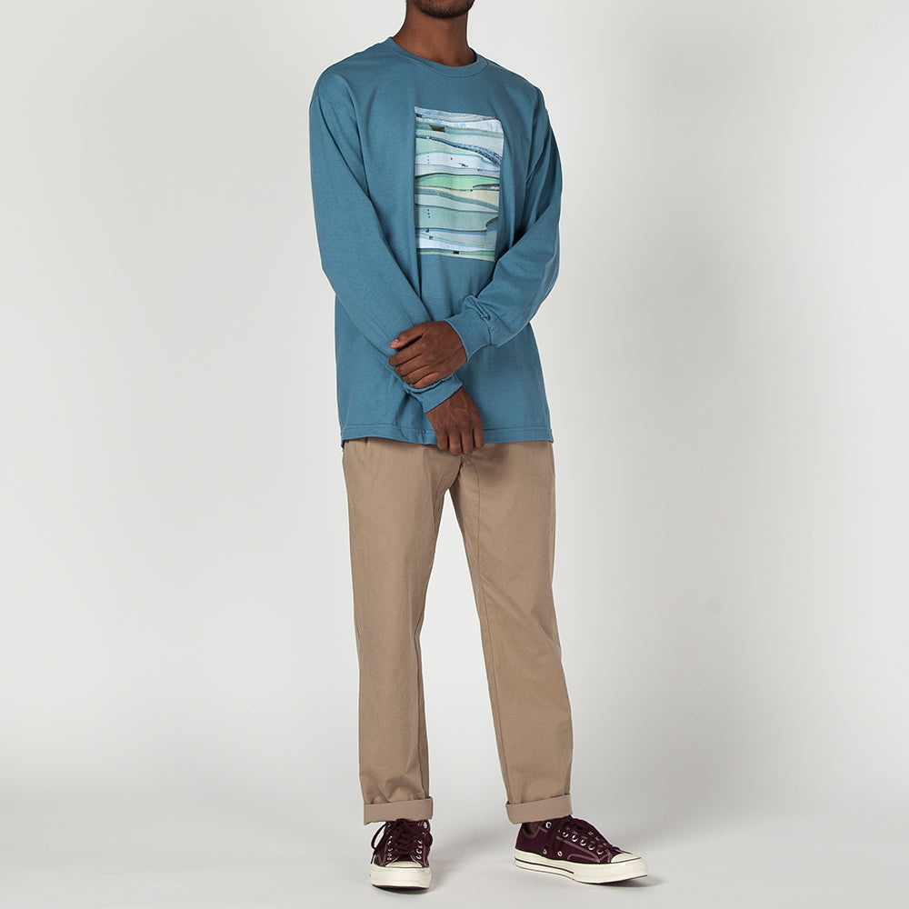 QUIET LIFE POOLS BY NATHANIEL JONES LONG SLEEVE T-SHIRT / SLATE BLUE