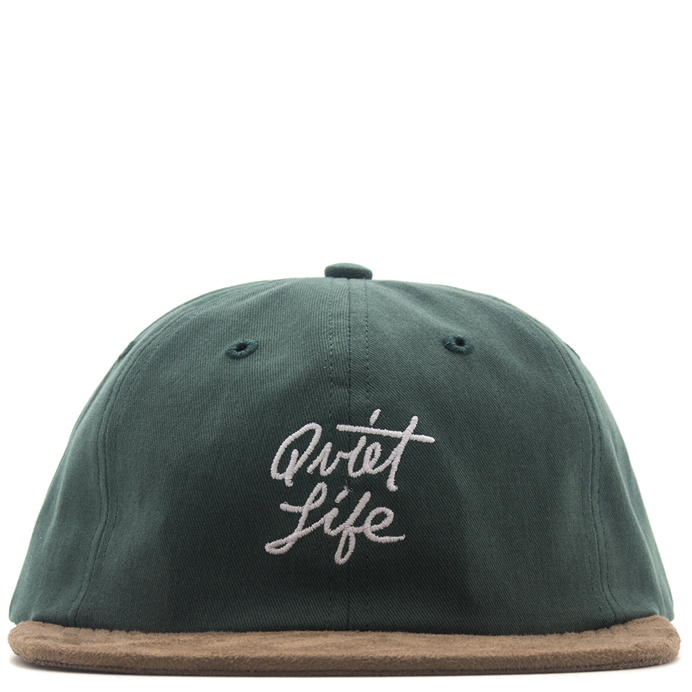 style code 17FWD11206GRN. QUIET LIFE CURSIVE POLO HAT / HUNTER