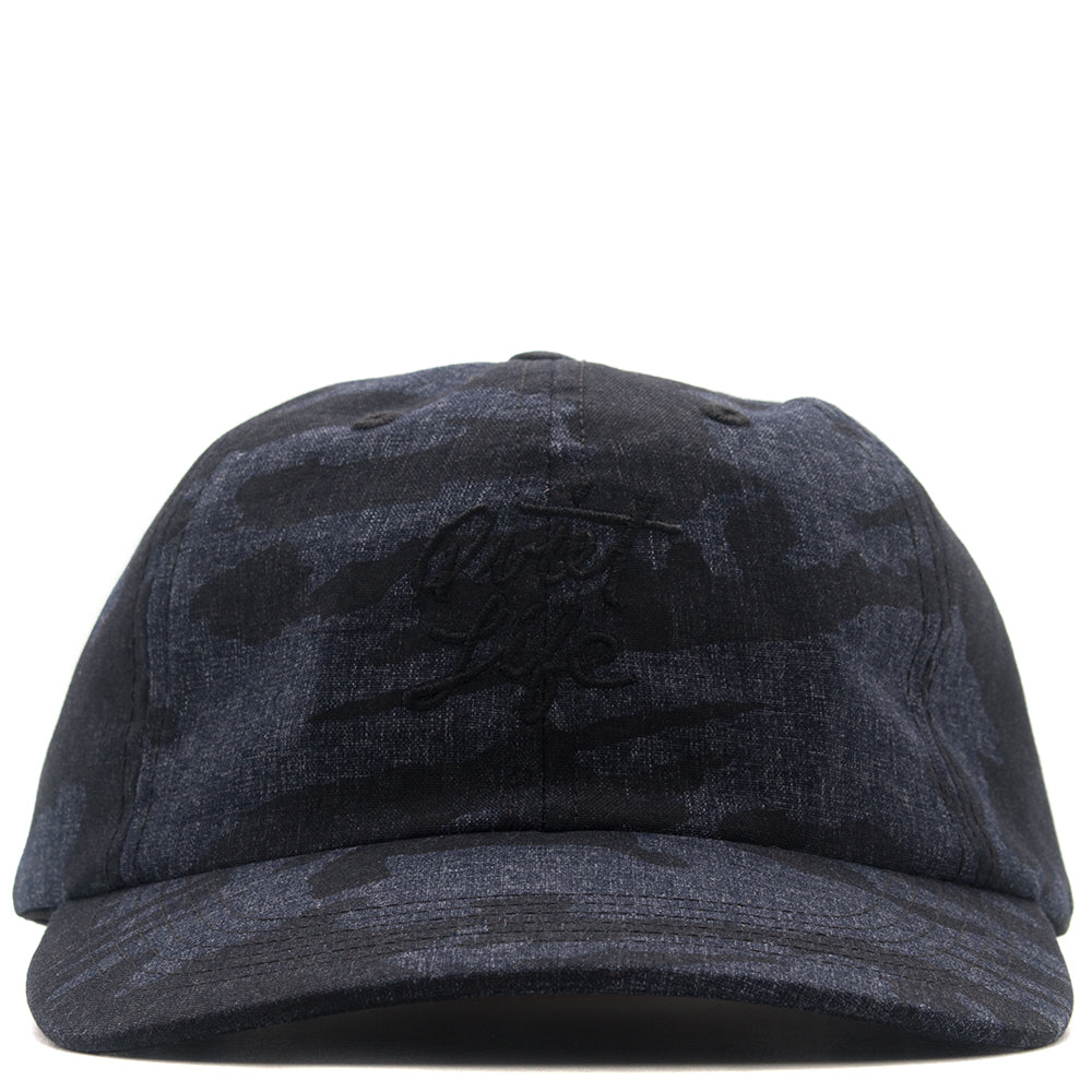 style code 17FWD11210NVY.  QUIET LIFE CAMO POLO HAT / NAVY