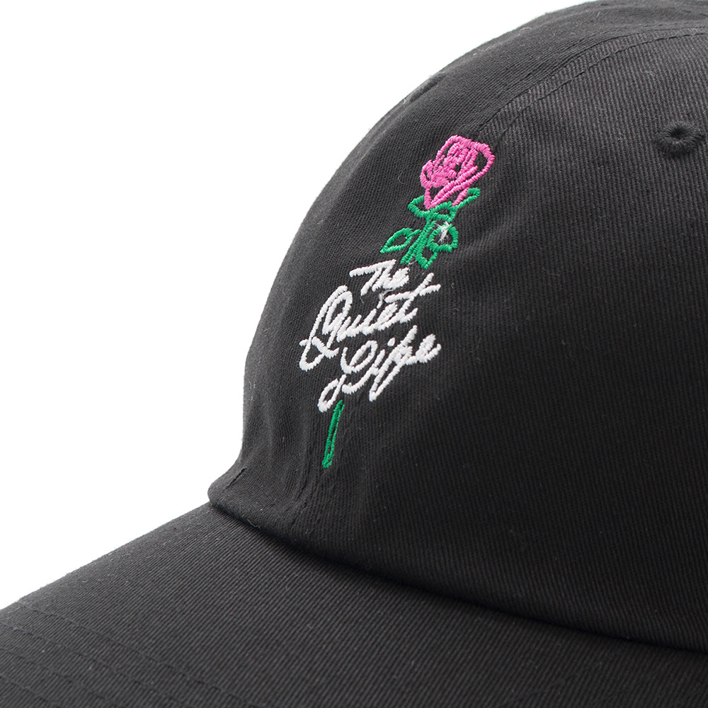 style code 17FWD22196BLK. QUIET LIFE ROSE DAD HAT / BLACK