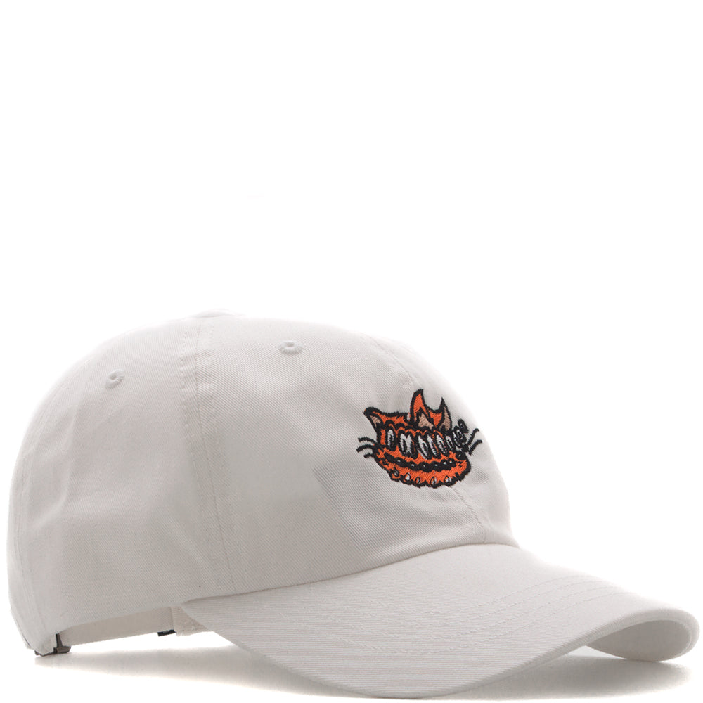 style code 17FWD22200WHT. QUIET LIFE SHAKEY CAT DAD HAT / WHITE