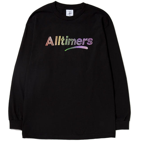 Style code 17HO01AP0205BLK. ALLTIMERS RAINBOW WATERCOLOR LONG SLEEVE T-SHIRT / BLACK