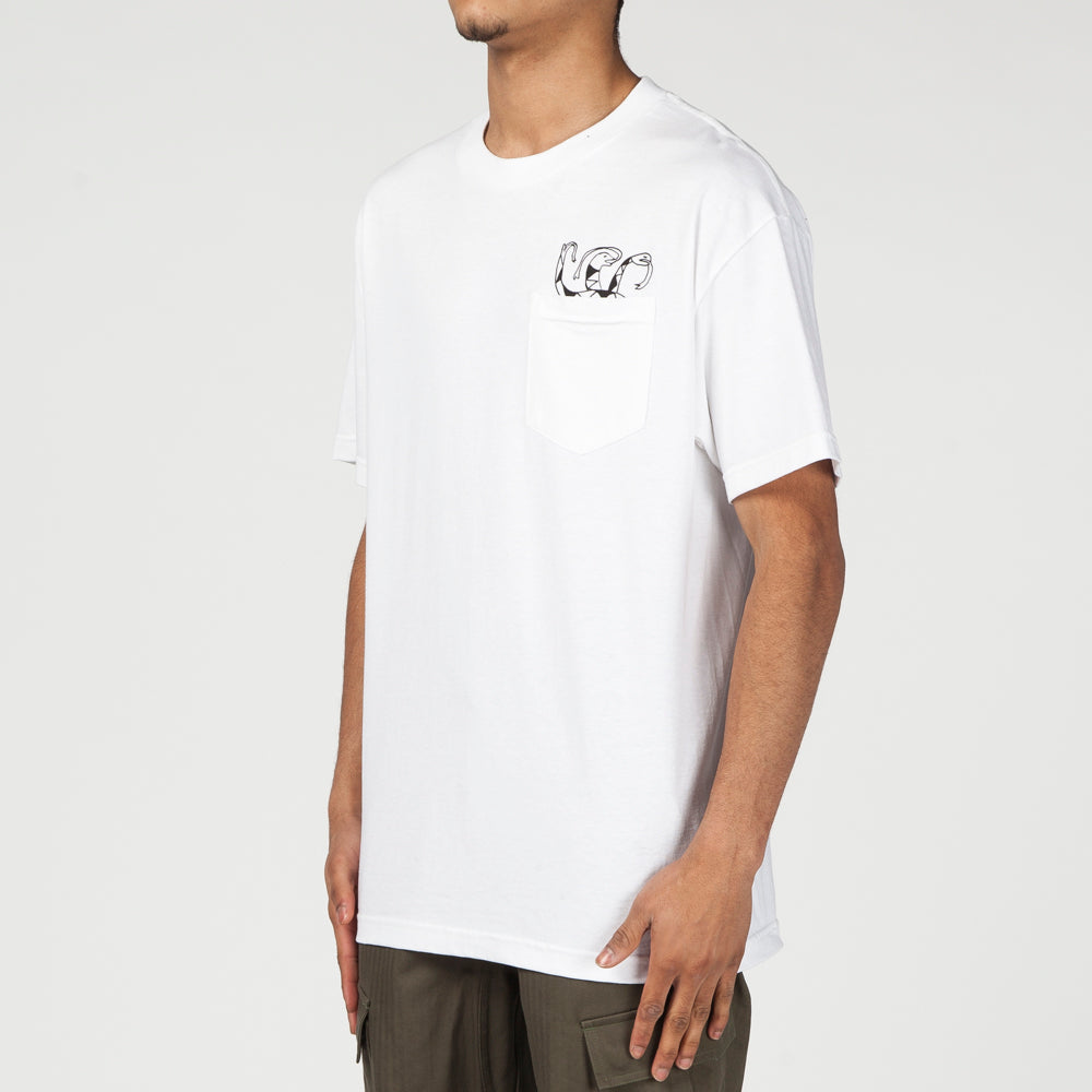 QUIET LIFE SNAKES POCKET T-SHIRT / WHITE