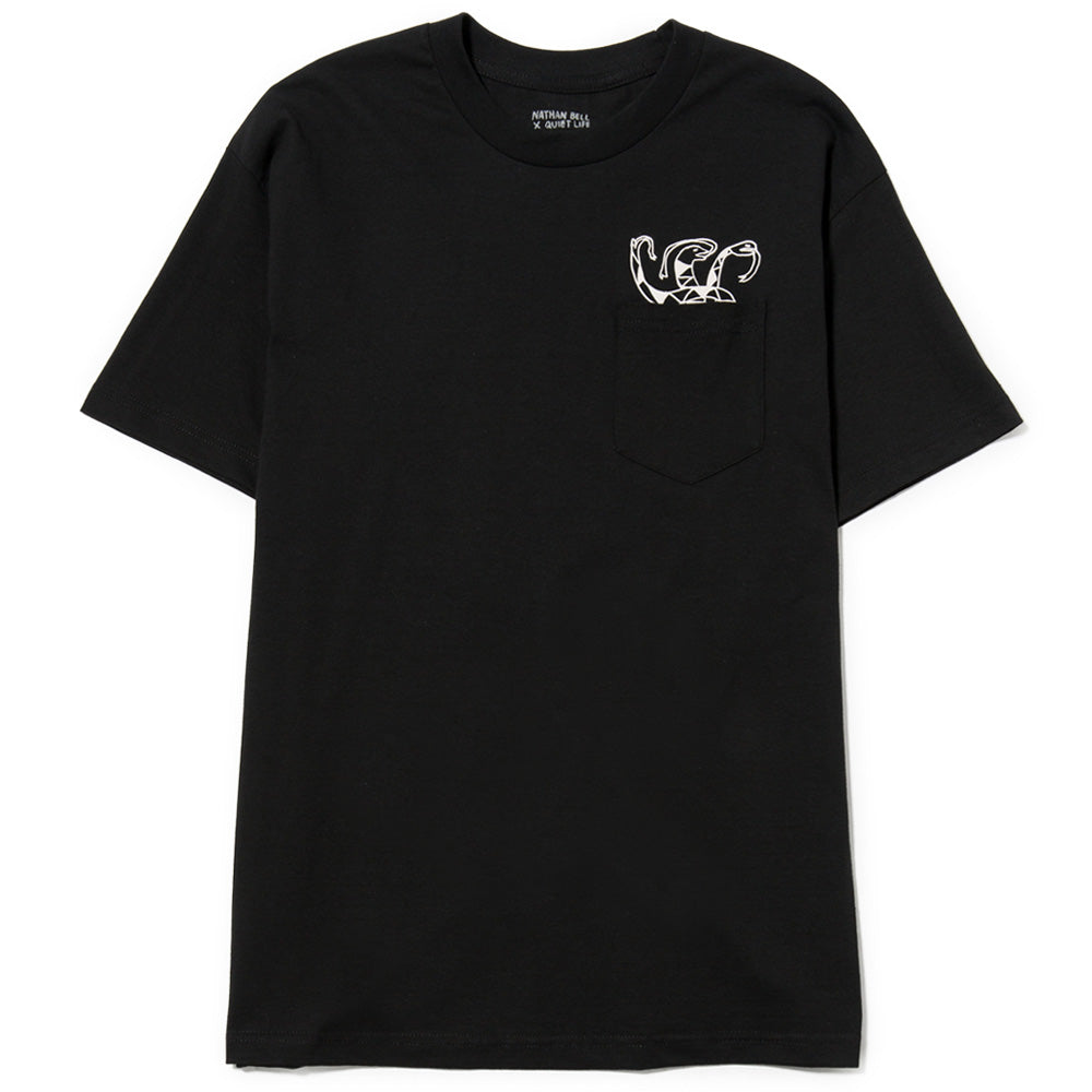 style code 17HOL4106BLK. QUIET LIFE SNAKES POCKET T-SHIRT / BLACK