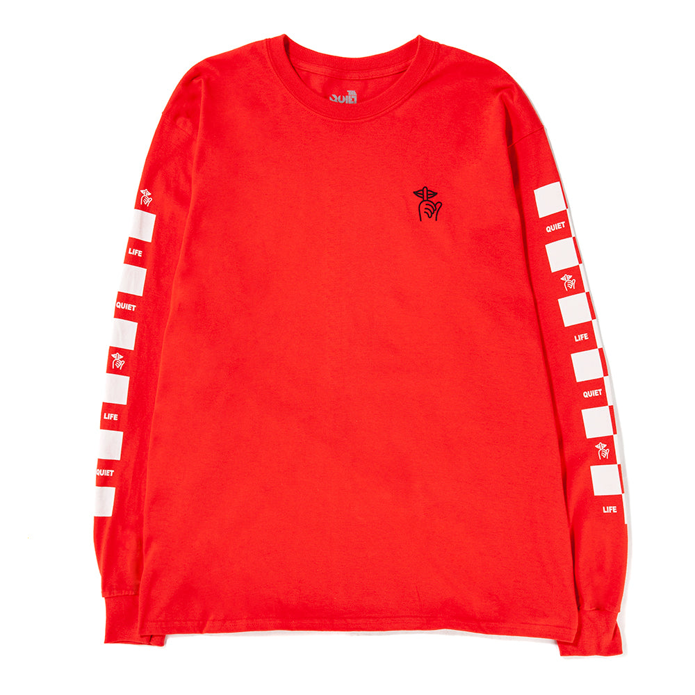 Style code 18FAD11135RED. Quiet Life Checker Long Sleeve T-shirt / Red