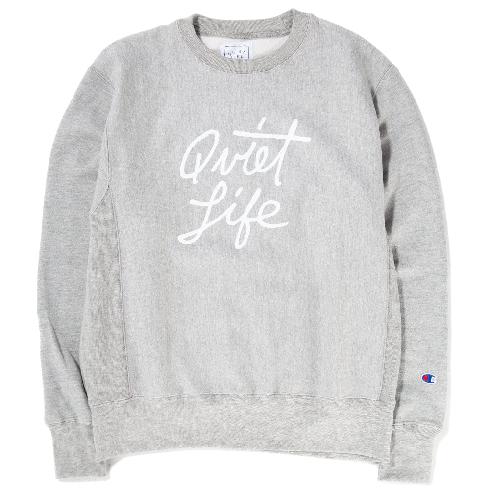 Style code 18FAD22133GRY. Quiet Life Cursive Champ Reverse Weave Crewneck / Heather Grey