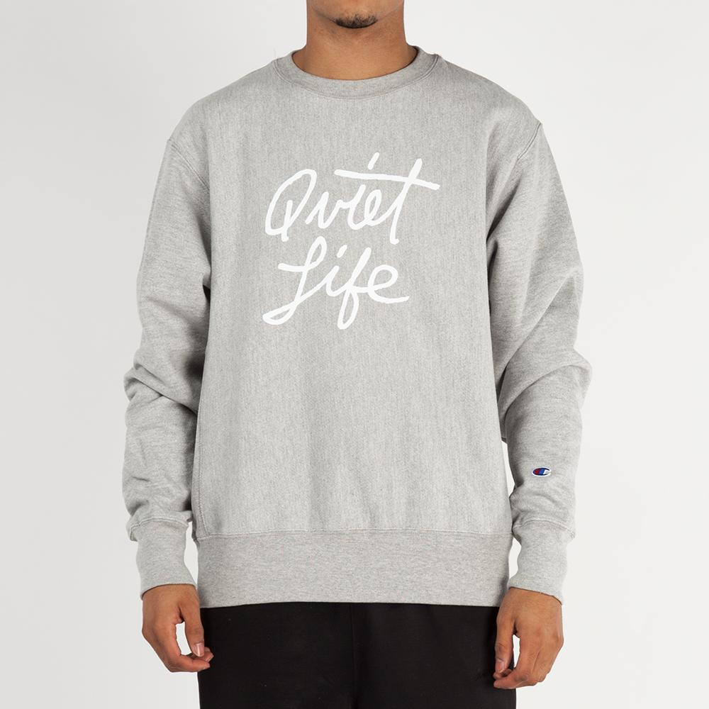 Quiet Life Cursive Champ Reverse Weave Crewneck / Heather Grey