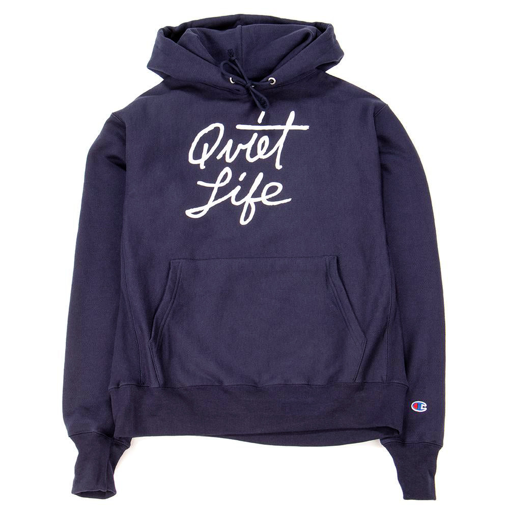Quiet Life Cursive Champ Reverse Weave Pullover Hoodie / Navy