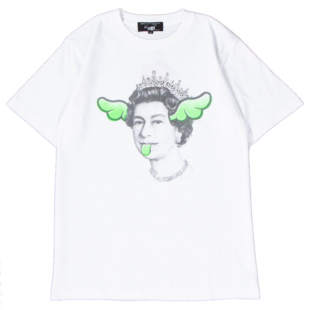 Style code 18SCDFTE0005GRN. Medicom Sync x D*FACE Queen T-shirt White / Green