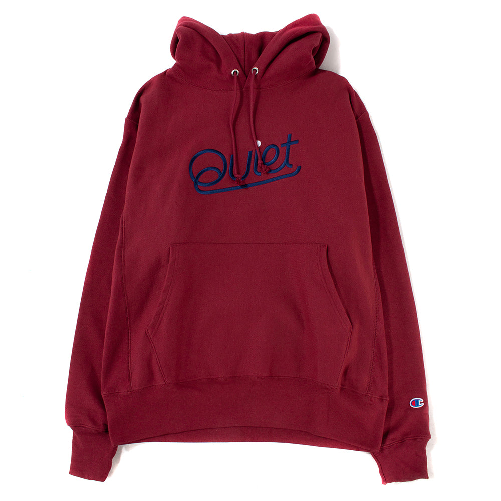 Quiet Life Script Champ Reverse Weave Pullover Hoodie / Burgundy - Deadstock.ca