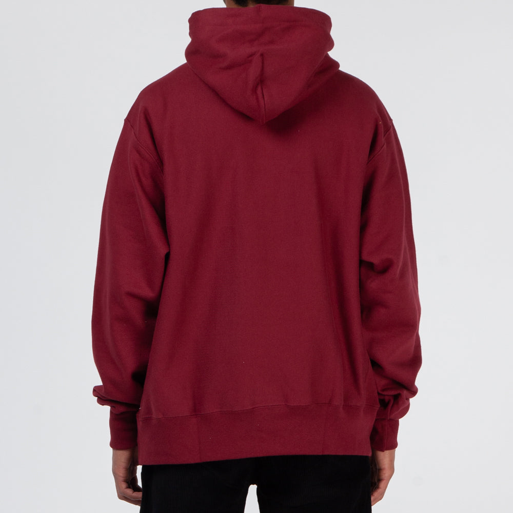 Quiet Life Script Champ Reverse Weave Pullover Hoodie / Burgundy