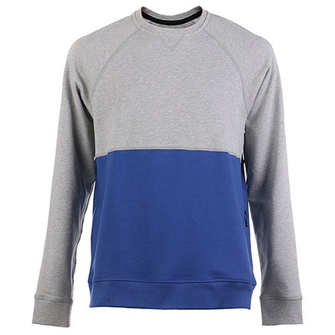 {ie CREWNECK COLOR BLOCK SWEATER W/ZIPPER POCKET HEATHER GREY / ROYAL - 1