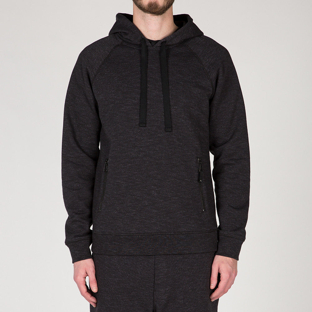 {ie SLUB FRENCH TERRY PULLOVER HOODY / BLACK