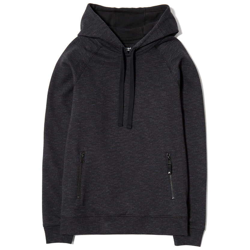{ie SLUB FRENCH TERRY PULLOVER HOODY / BLACK - 1