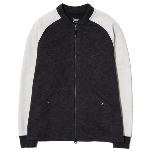 {ie SLUB FRENCH TERRY VARSITY ZIP UP BLACK / CLOUD - 1