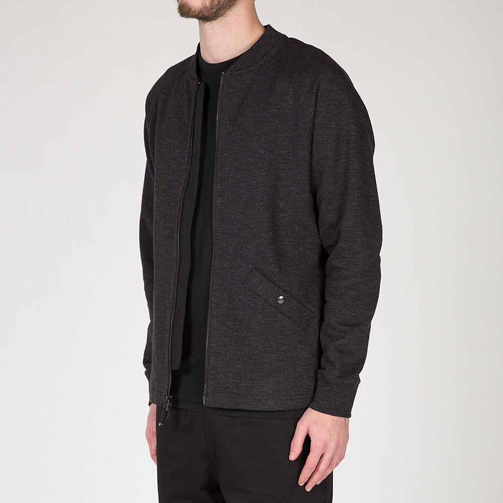 {ie SLUB FRENCH TERRY VARSITY ZIP UP / BLACK
