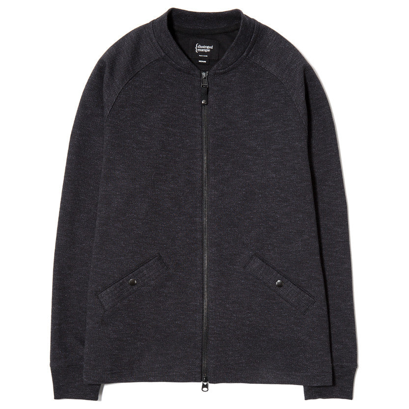 {ie SLUB FRENCH TERRY VARSITY ZIP UP / BLACK - 1
