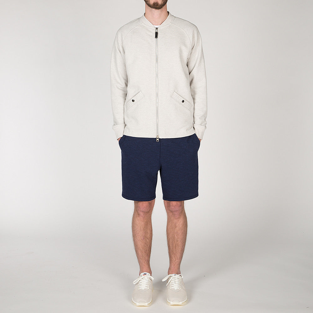 {ie SLUB FRENCH TERRY VARSITY ZIP UP / CLOUD