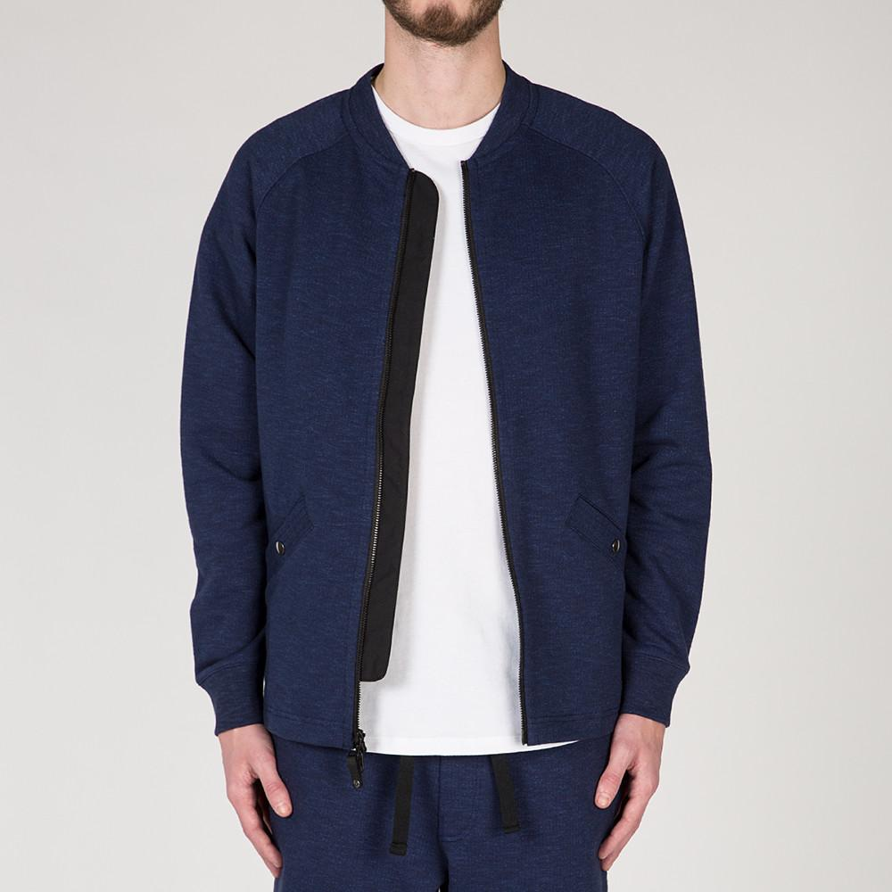 {ie SLUB FRENCH TERRY VARSITY ZIP UP / INDIGO