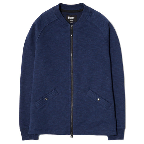 {ie SLUB FRENCH TERRY VARSITY ZIP UP / INDIGO - 1
