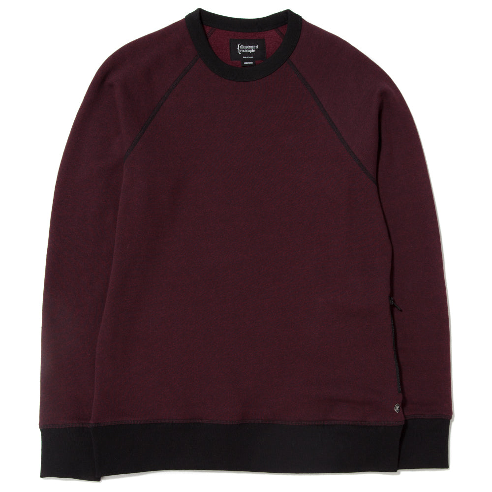 style code 2022TEF17HBU. {ie CREWNECK PULLOVER / HEATHER BURGUNDY