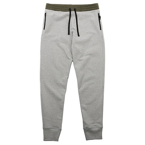 {ie WOVEN WAISTBAND SWEATPANT HEATHER GREY / OLIVE - 1