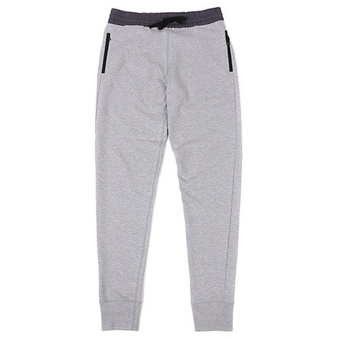 {ie SWEAT PANTS CONTRAST WOVEN WB W/ZIPPER POCKETS HEATHER GREY / CHARCOAL - 1