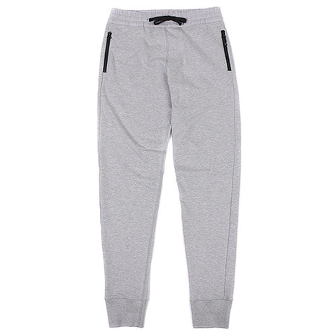 {ie SWEAT PANTS CONTRAST WOVEN WB W/ZIPPER POCKETS HEATHER GREY / GREY - 1