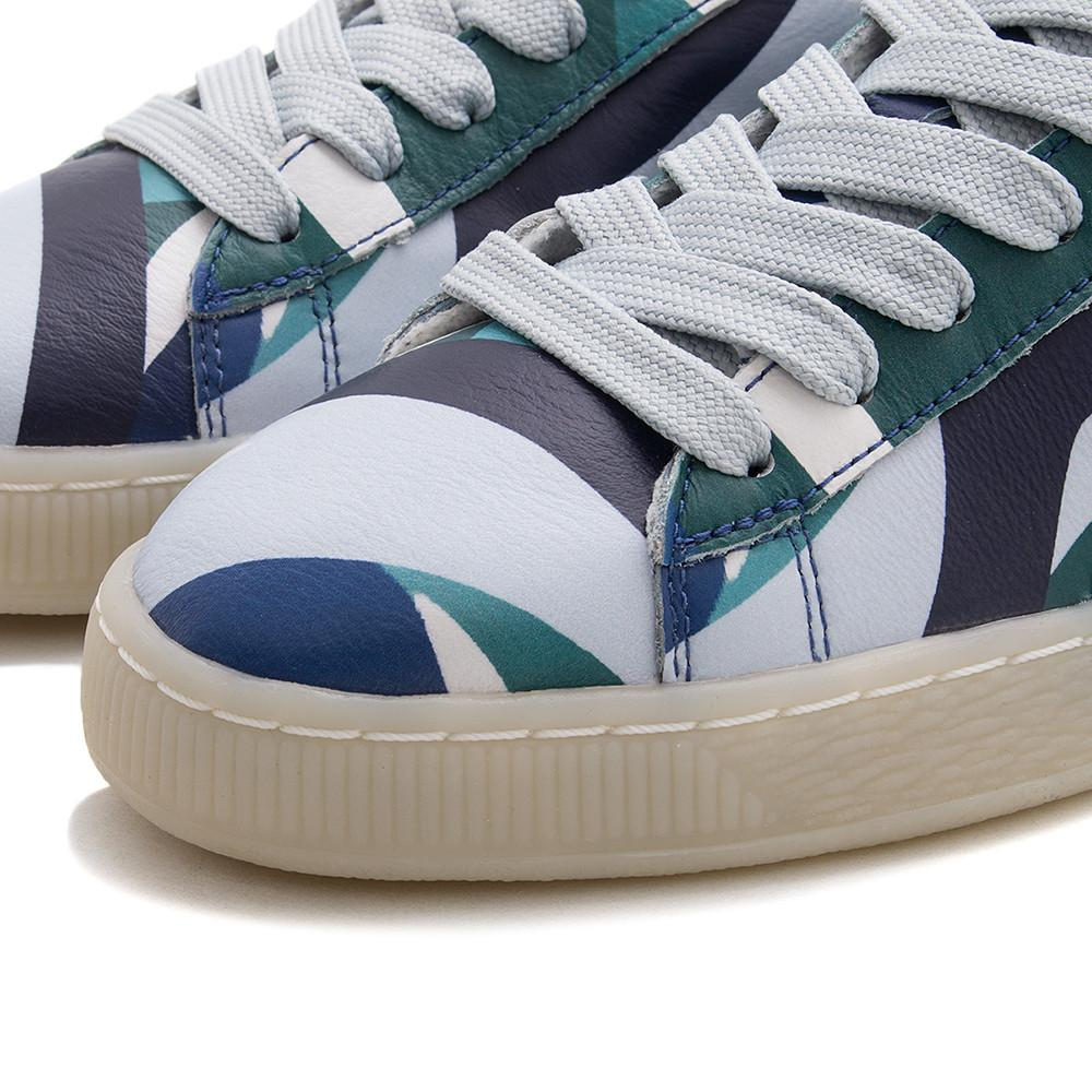 style code 363435-01. PUMA WOMEN'S X CAREAUX BASKET GRAPHIC / TWILIGHT BLUE