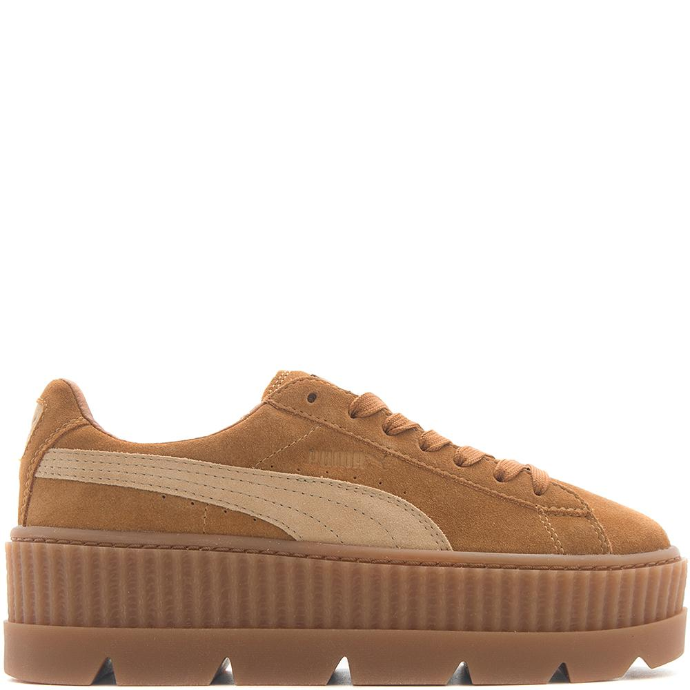 style code 366268-02. PUMA FENTY CLEATED SUEDE CREEPER / GOLDEN BROWN