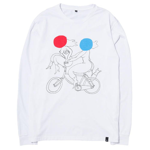 style code 37270SS17WHT. BY PARRA BIKE CHICKS LONGSLEEVE T-SHIRT / WHITE