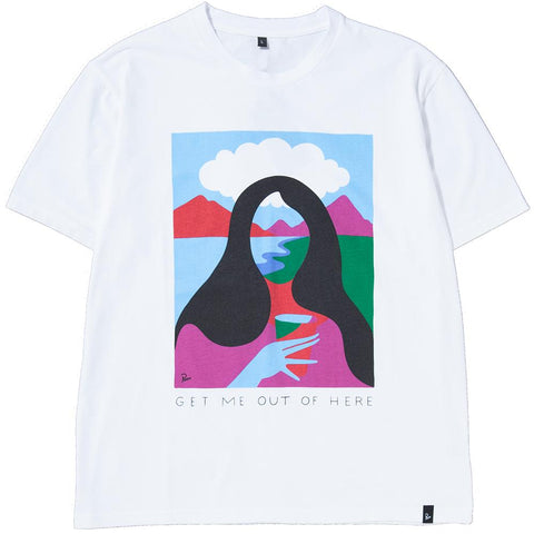 style code 39000FW17. BY PARRA GET ME OUT OF HERE T-SHIRT / WHITE