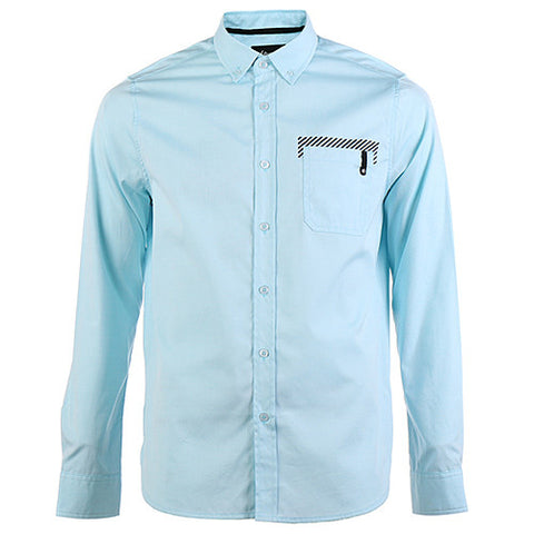 {ie OXFORD SHIRT STRIPE PRINT LONG SLEEVE / AQUA - 1