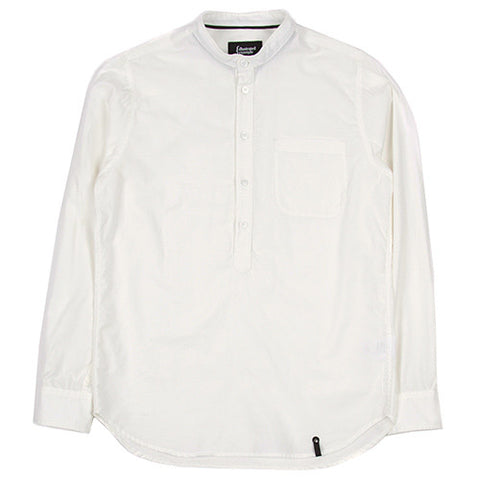 {ie DUNGAREE BAND COLLAR POPOVER SHIRT / WHITE - 1
