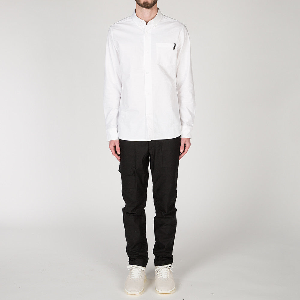 {ie PANEL SLEEVE OXFORD SHIRT WHITE / LT GREY