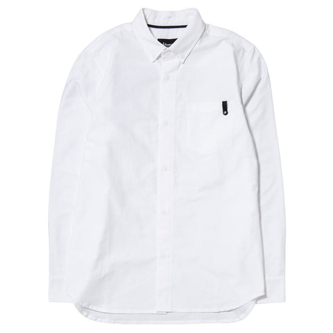 {ie PANEL SLEEVE OXFORD SHIRT WHITE / LT GREY - 1