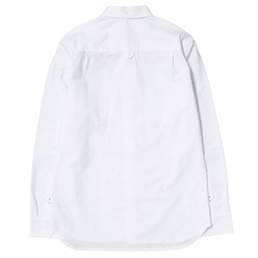 {ie PANEL SLEEVE OXFORD SHIRT WHITE / LT GREY - 2