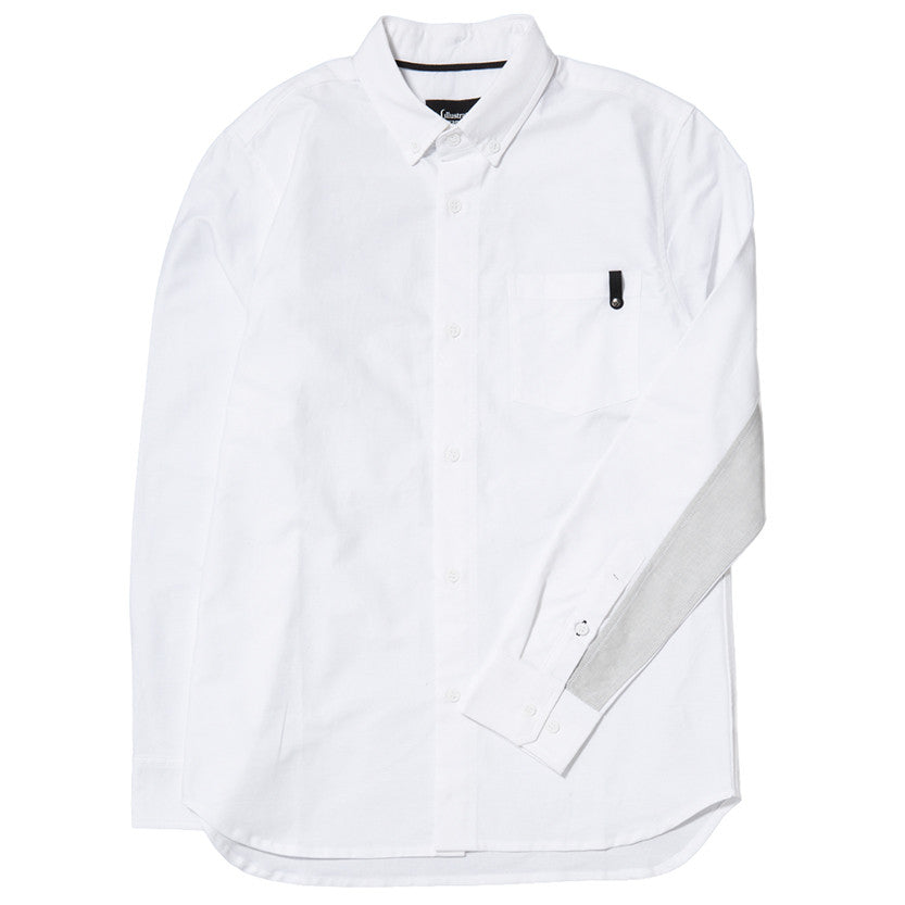 {ie PANEL SLEEVE OXFORD SHIRT WHITE / LT GREY - 3