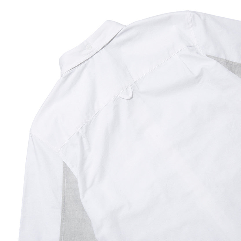 {ie PANEL SLEEVE OXFORD SHIRT WHITE / LT GREY - 4