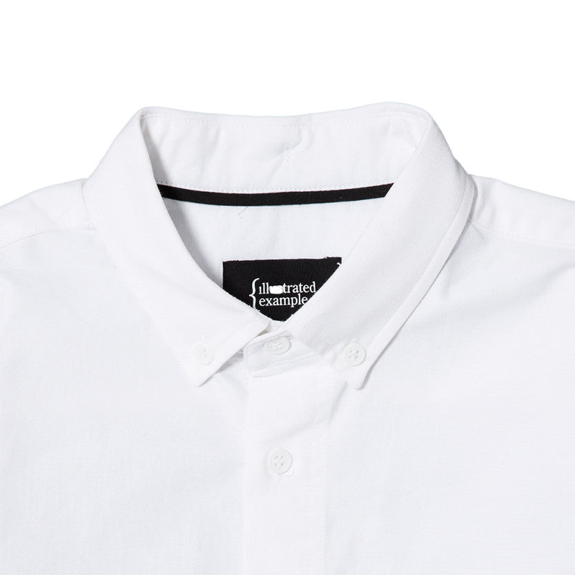 {ie PANEL SLEEVE OXFORD SHIRT WHITE / LT GREY - 5