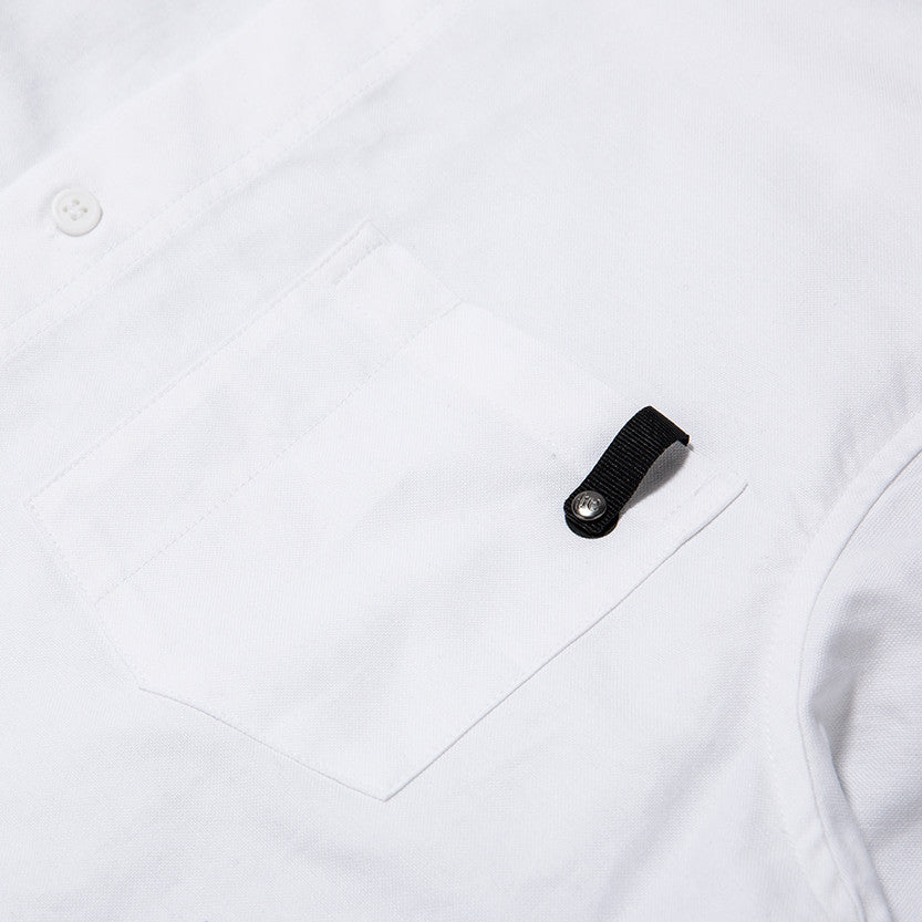 {ie PANEL SLEEVE OXFORD SHIRT WHITE / LT GREY - 6