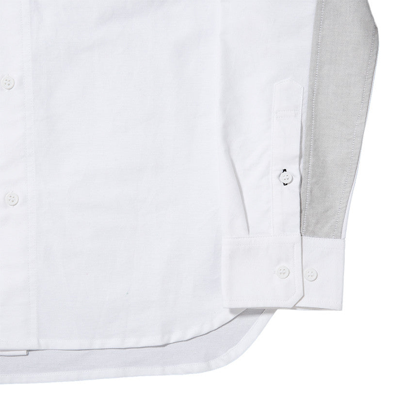 {ie PANEL SLEEVE OXFORD SHIRT WHITE / LT GREY - 7