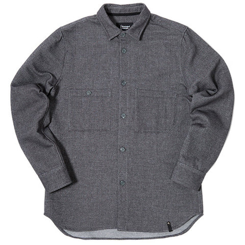 {ie JAPANESE DOUBLE FACE TWILL BUTTON UP SHIRT HEATHER BLACK / HEATHER GREY - 1
