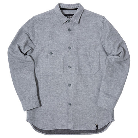 {ie JAPANESE DOUBLE FACE TWILL BUTTON UP SHIRT HEATHER GREY / BLACK - 1