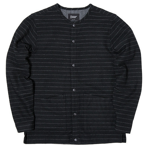 {ie STRIPED WOOL OVERSHIRT / BLACK PINSTRIPE - 1