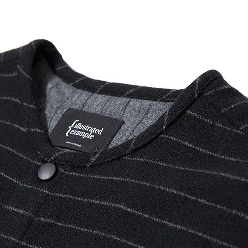 {ie STRIPED WOOL OVERSHIRT / BLACK PINSTRIPE - 3