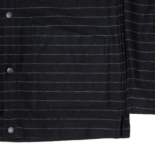{ie STRIPED WOOL OVERSHIRT / BLACK PINSTRIPE - 4
